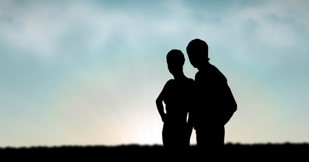 rural development: Digital composite of Silhouette couple standing against sky