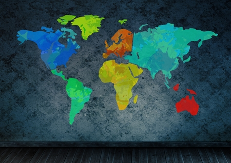 floorboards: Digital composite of Colorful Map with wall room background