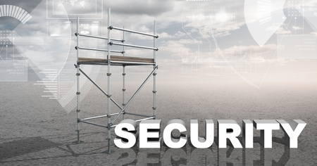 flooring: Digital composite of Security Text with 3D Scaffolding and technology interface landscape