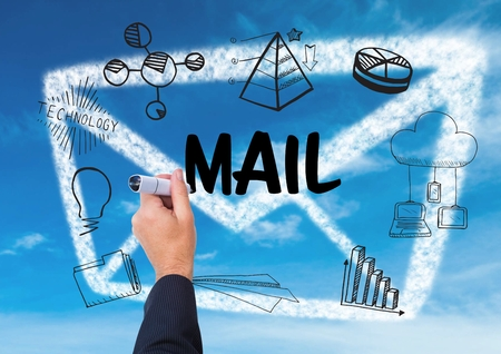 email icon: Digital composite of graphic about mail with hand writing it Stock Photo
