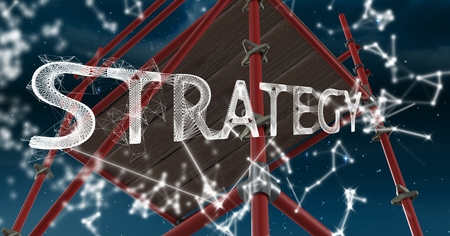 Digital composite of Strategy Text with 3D Scaffolding and sky Stock Photo