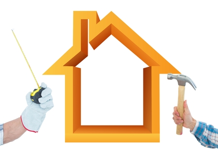 Digital composite of Hand with hammer and hand with meter with orange 3D house background