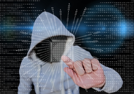 Digital composite of Grey jumper hacker with out face blue blurred background and binary code with square.