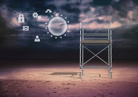 Digital composite of Technology interface with 3D Scaffolding Stock Photo