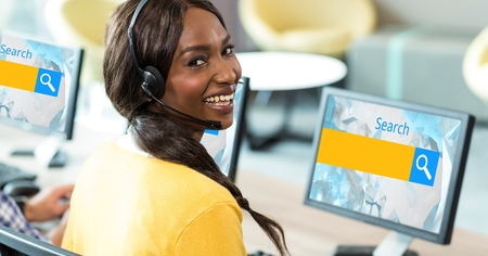 Digital composite of Female customer service representative wearing headphones while searching on net