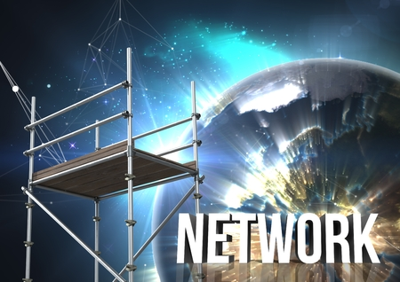 Digital composite of Network Text with 3D Scaffolding and planet earth interface Stock Photo