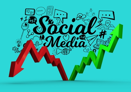 Digital composite of Composite image about social media in 3d Stock Photo