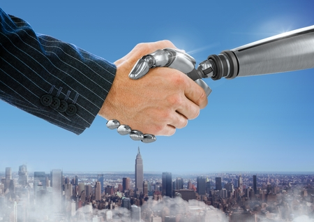 Digital composite of Robot hand shaking businessman hand with blue city background