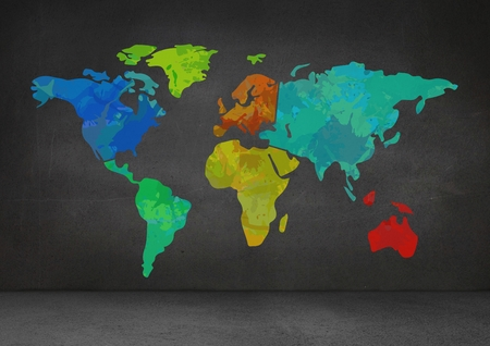 dull: Digital composite of Colorful Map on wall background Stock Photo