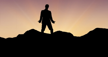 horizon over land: Digital composite of Silhouette professional standing on mountain against sky