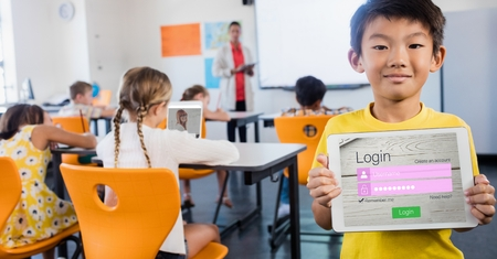 computer education: Digital composite of Schoolboy showing log in page on device in classroom