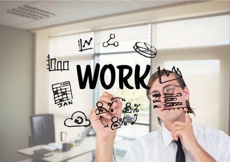 western script: Digital composite of Men drawing work graphic Stock Photo