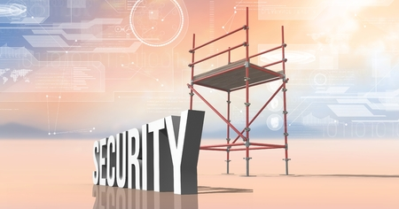 Digital composite of Security Text with 3D Scaffolding and technology interface landscape