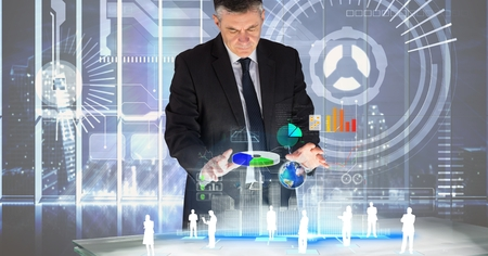 Digital composite of Digitally generated image of businessman analyzing graphs with employees on table