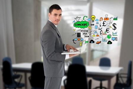 Digital composite of Digitally generated image of businessman using laptop with various icons in office