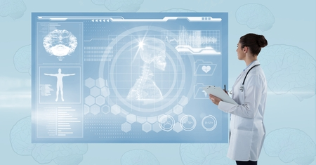Digital composite of Side view of female doctor looking at futuristic screen