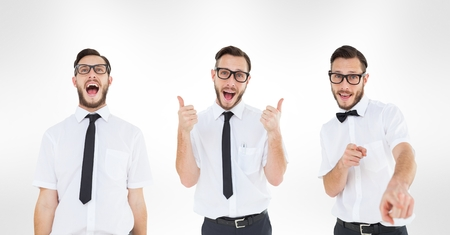 Digital composite of Multiple image of man gesturing against white background