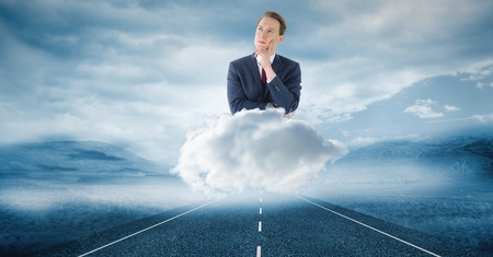 Digital composite of Digitally generated image of thoughtful businessman on cloud over road in sky