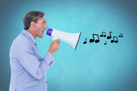 Digital composite of Digitally generated image of businessman shouting on megaphone emitting music icons