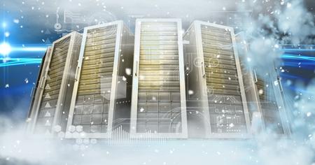 Digital composite of Digital composite image of severs in sky