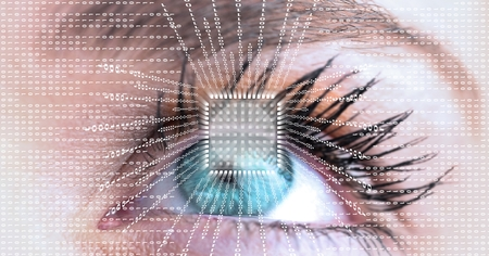 Digital composite of Close-up of eye with futuristic interface Stock Photo