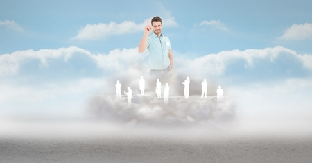 Digital composite of Digital composite image of businessman with employees on cloud in sky