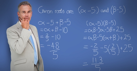 Digital composite of Thoughtful businessman standing by math equation