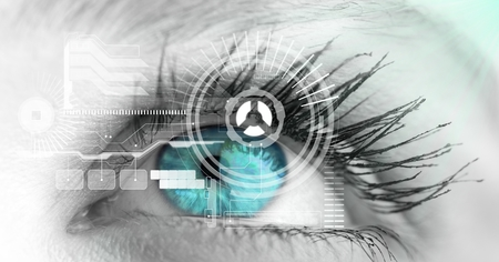 Digital composite of Close-up of eye with interface