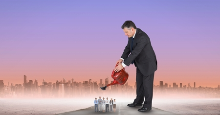 applauding: Digital composite of Digital composite image of manager watering employees Stock Photo