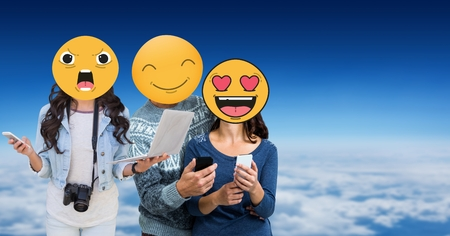 Digital composite of Friends with emojis over faces using technologies in sky