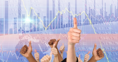 Digital composite of Digital composite image of hands showing thumbs up against screen Stock Photo