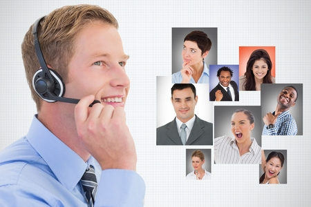Digital composite of Digital composite image of businessman using headphones by candidates against white background