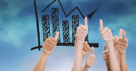 Digital composite of Hands gesturing thumbs up with graph in background