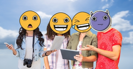 higher intelligence: Digital composite of Friends with emojis over faces using technologies