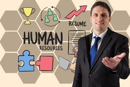 racecourse: Digital composite of Businessman gesturing by human resource text and icons