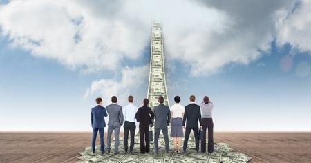 Digital composite of Digital composite image of business people looking at money walkway leading towards sky