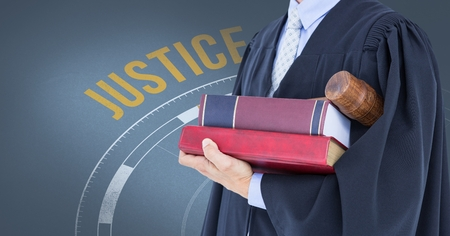 western script: Digital composite of Midsection of judge with books