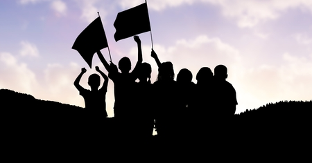 non urban scene: Digital composite of Children holding flags on mountain against sky