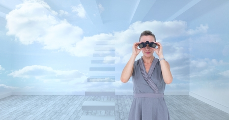finding out: Digital composite of Digital composite image of businesswoman looking through binoculars against sky