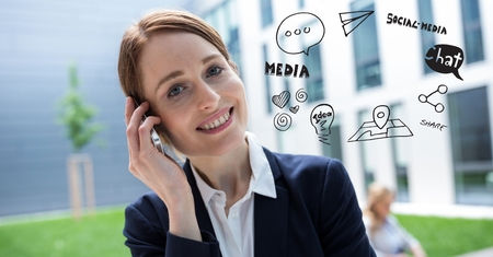 phoning: Digital composite of Digital composite image of businesswoman using phone by various icons against building