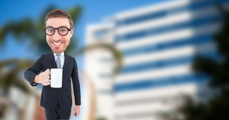 Digital composite of Happy nerd businessman holding coffee cup