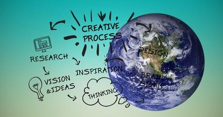 western script: Digital composite of Digital composite image of globe with creative process graphics
