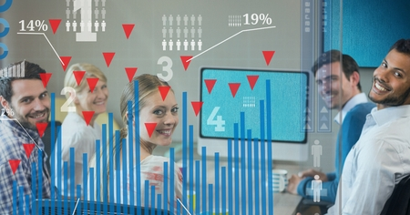 Digital composite of Digital composite image of happy business people with graph in office Stock Photo