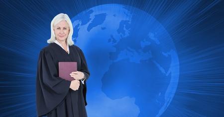 Digital composite of Digital composite image of judge over globe Stock Photo
