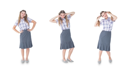Digital composite of Multiple image of woman with various expressions Stock Photo