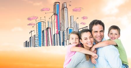 Digital composite of Portrait of happy parents piggybacking children against drawn city Stock Photo