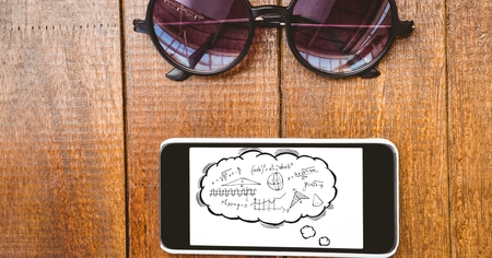 Digital composite of Education graphics on smart phone by eyeglasses Stock Photo