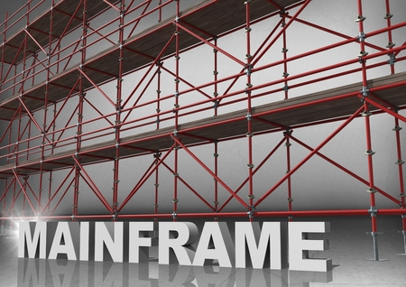 metal grate: Digital composite of 3D word mainframe in front of scaffolding in grey room