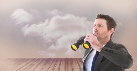 floorboards: Digital composite of Digital composite image of businessman holding binoculars while looking away