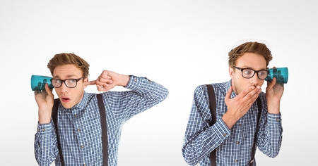 Digital composite of Multiple image of man listening through glass